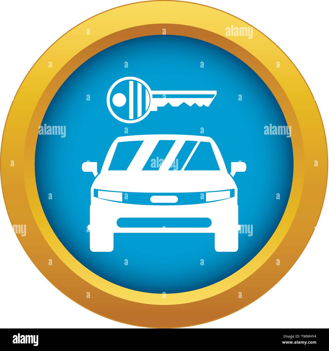 Car and key icon blue vector isolated - Stock Image