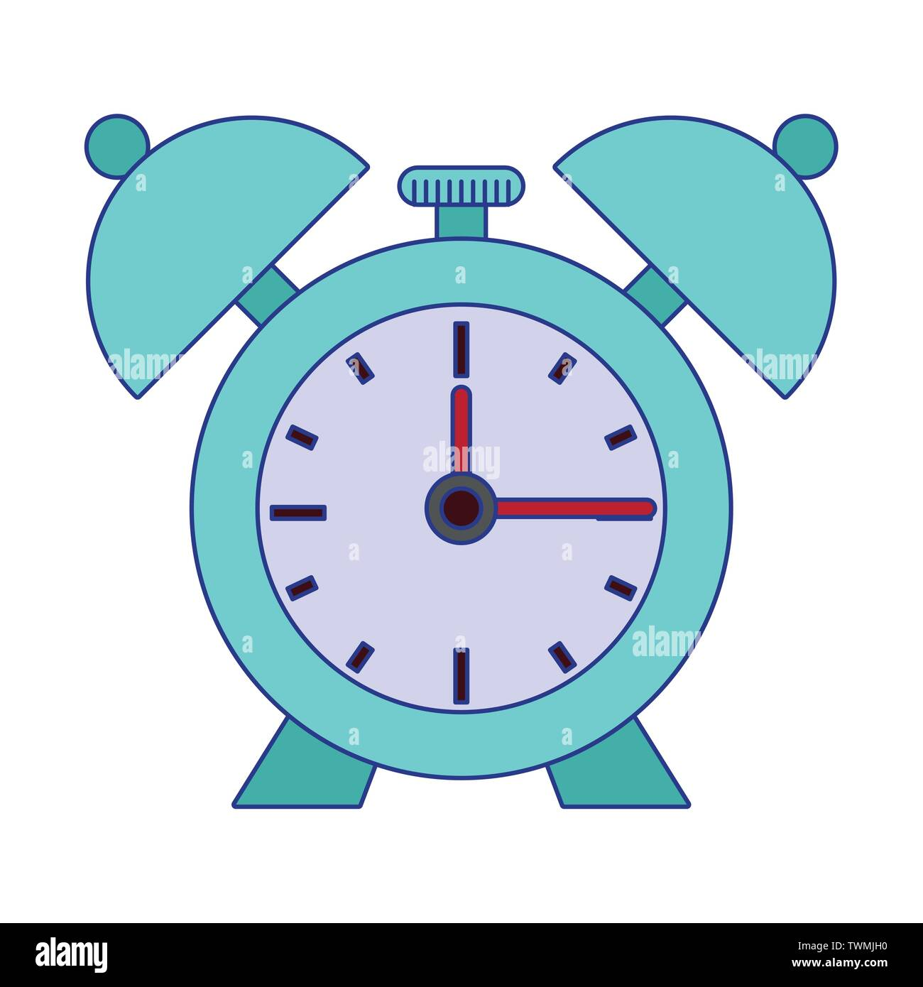 Alarm clock with bells isolated symbol blue lines - Stock Image