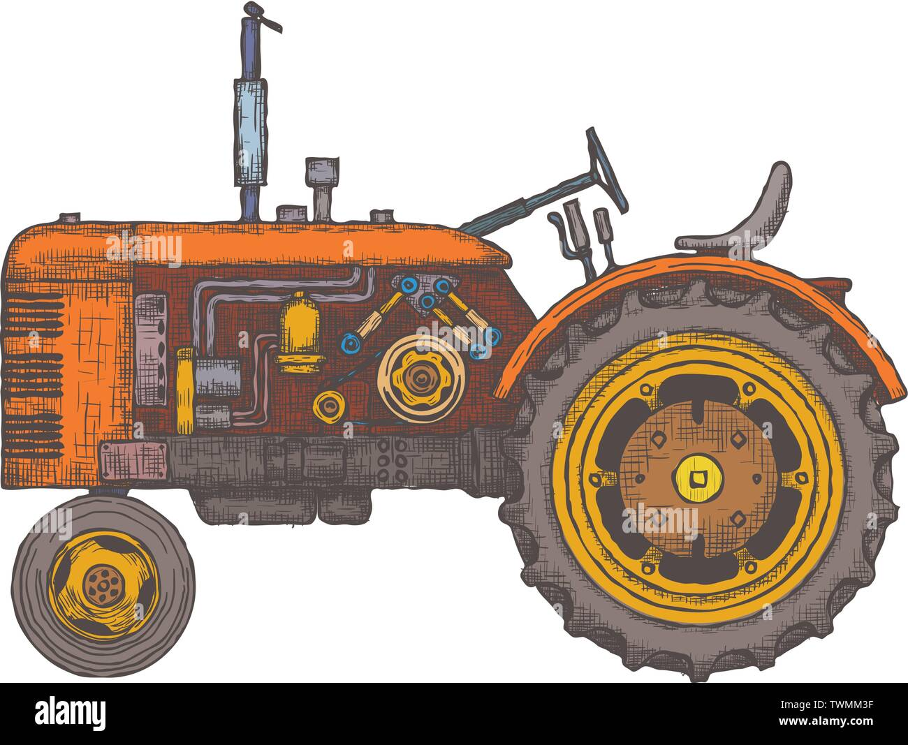 Vintage agricultural tractor, sketch. Hand drawn Vector - Stock Vector