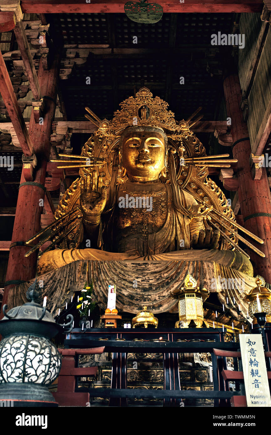 View of the giant Buddha inside the Daibutsuden, Great Buddha Hall, of the Todaiji Temple, in Nara, Japan Stock Photo