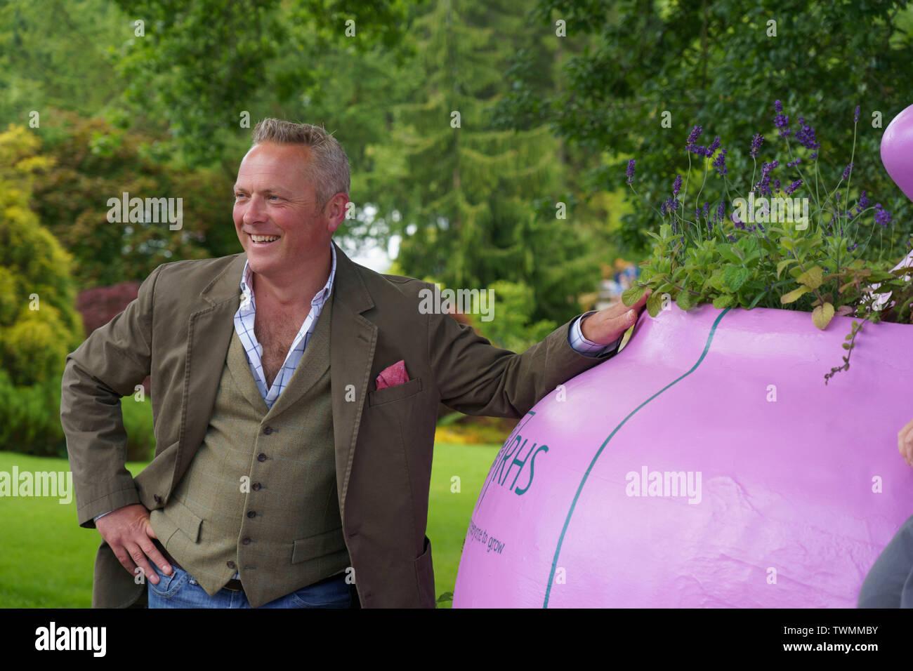 Julian Hudson TV Presenter posing for a photo at RHS Garden Harlow Carr summer flower show,Harrogate,North Yorkshire,England. - Stock Image