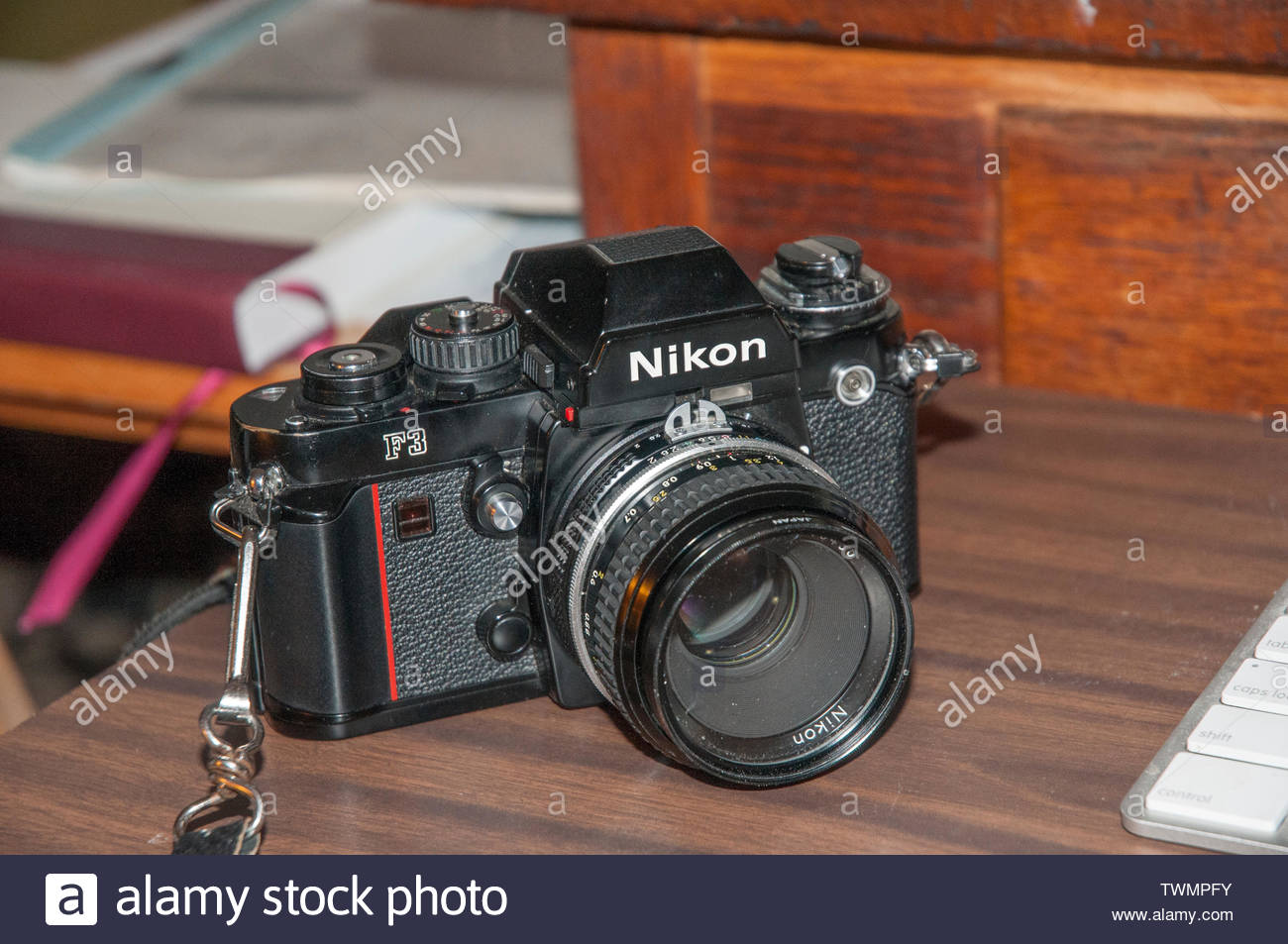 Nikon F3 film camera was Nikon's top professional camera from 1980 through 1988.  It remained in production until 2001. Stock Photo
