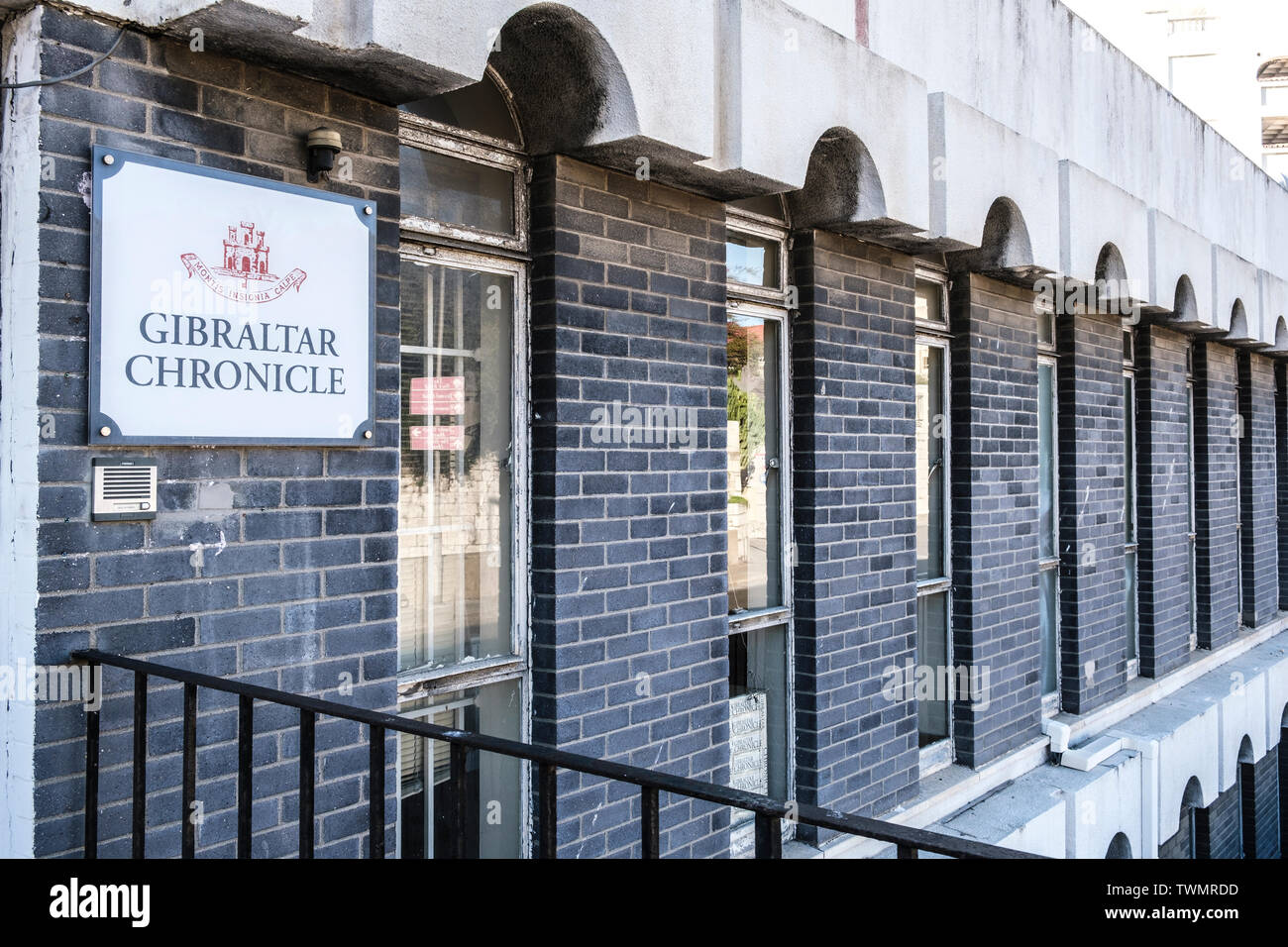 Gibraltar Chronicle newspaper offices, Watergate House Casemates Gibraltar - Stock Image
