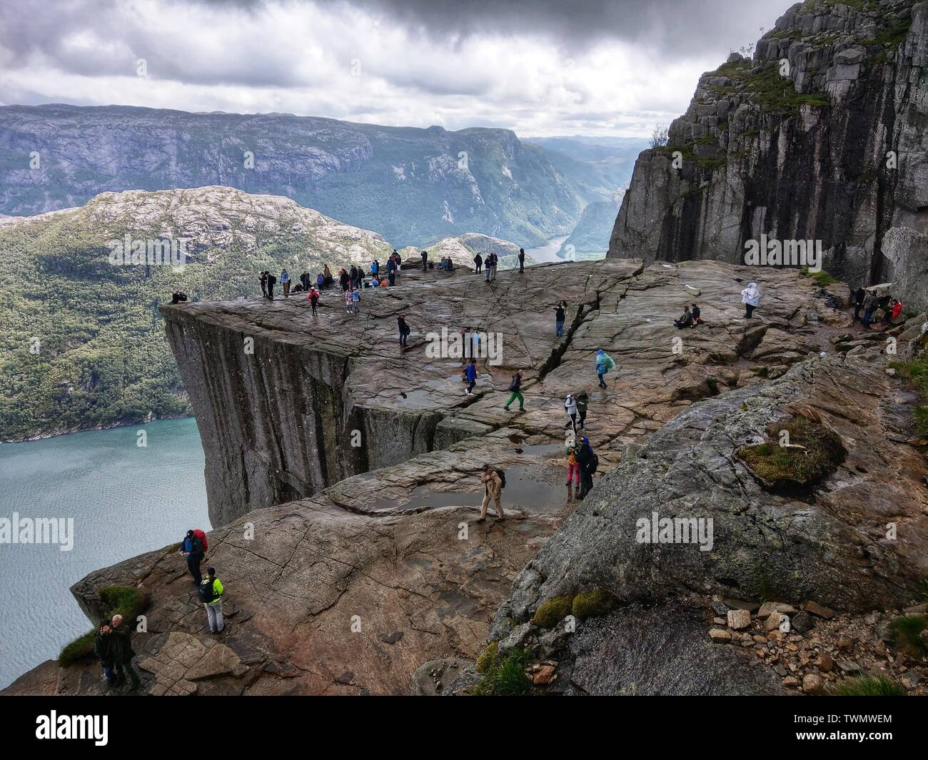 Preikestolen, Norway. 21st June, 2019. Norway's famed Preikestolen (Pulpit Rock), which is one of the country's major tourist attractions, offering some seven kilometers of hiking to reach The Rock and return. Credit: Sachelle Babbar/ZUMA Wire/Alamy Live News - Stock Image