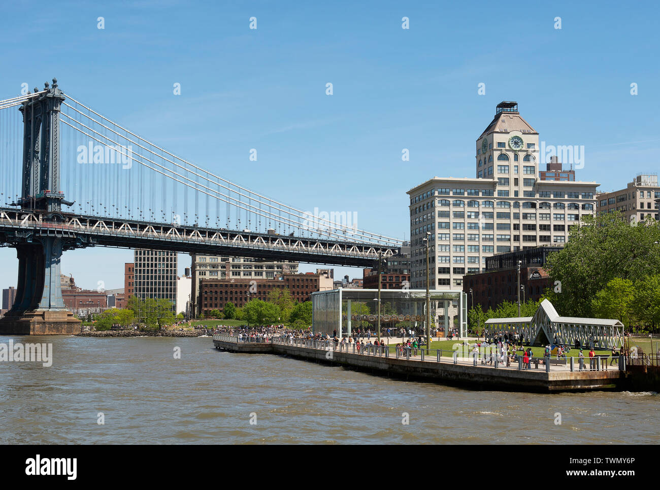 The Brooklyn waterfront in Dumbo, New York. - Stock Image