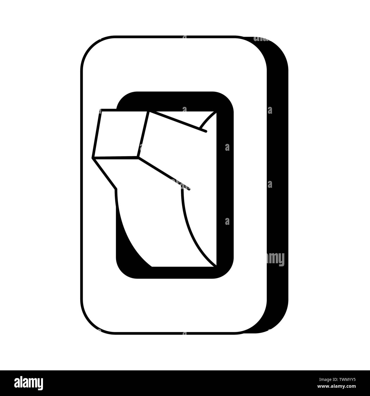 Light switch isolated cartoon symbol in black and white - Stock Vector