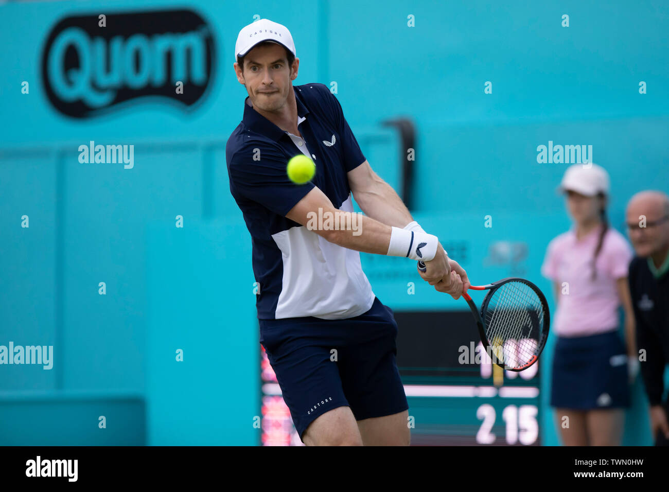 Queen Club, London, UK. 21st June, 2019. The ATP Fever-Tree Tennis Tournament; Andy Murray (GBR) with a backhand shot to Daniel Evans (GBR) and Ken Skupski (GBR) Credit: Action Plus Sports/Alamy Live News Stock Photo
