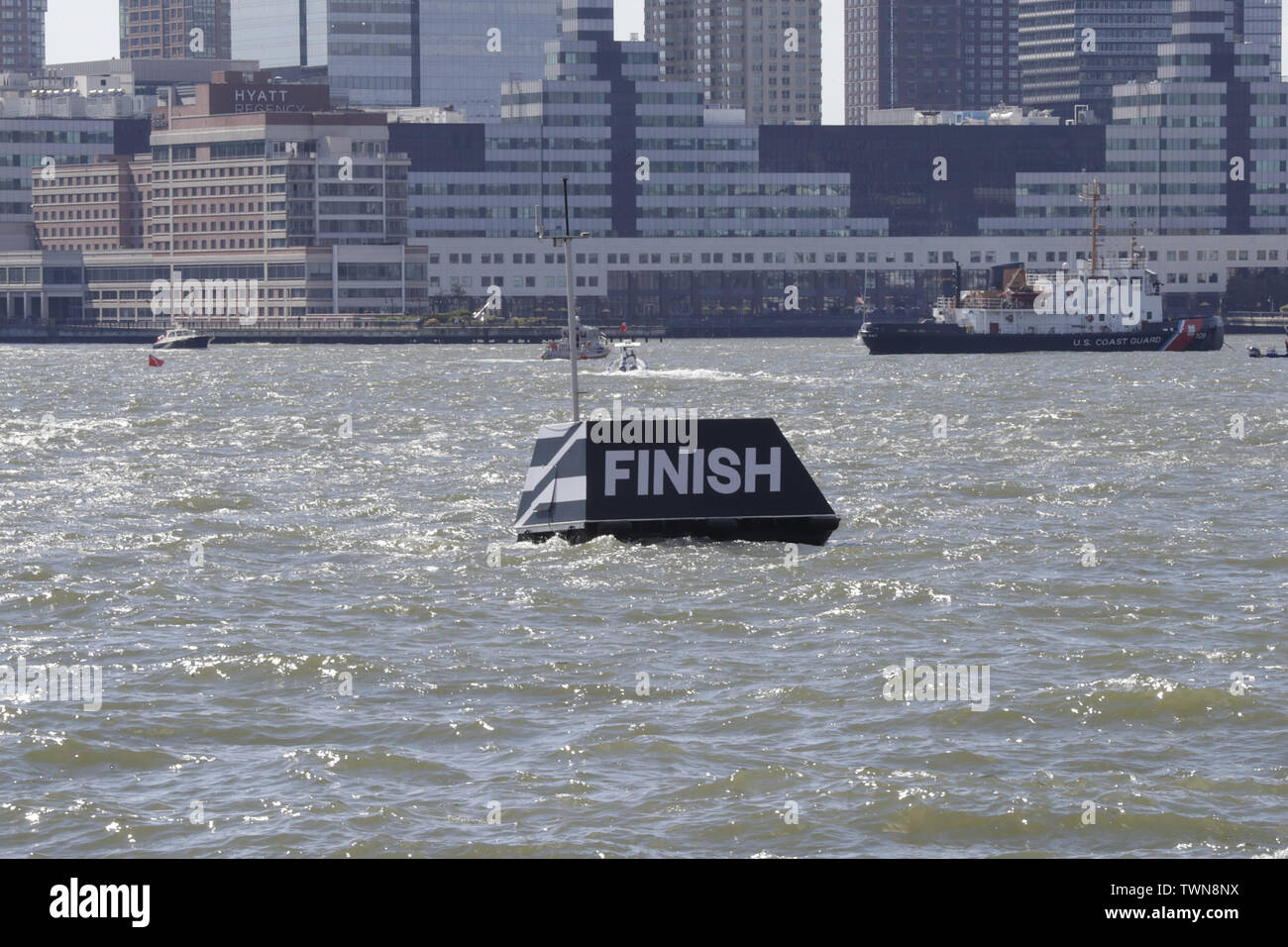 New York, NY, USA. 21st June, 2019. Hudson River, New York, USA, June 21, 2019 - SailGP teams sail their race during racing day 1 of the SailGP event today in New York.Photo: Luiz Rampelotto/EuropaNewswire.PHOTO CREDIT MANDATORY. Credit: Luiz Rampelotto/ZUMA Wire/Alamy Live News Stock Photo