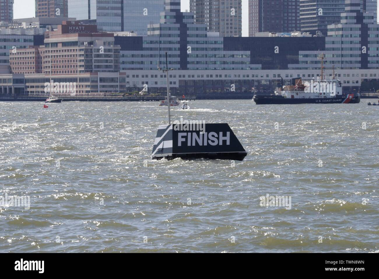 Hudson River, New York, USA, June 21, 2019 - SailGP teams sail their race during racing day 1 of the SailGP event today in New York.Photo: Luiz Rampelotto/EuropaNewswire PHOTO CREDIT MANDATORY. | usage worldwide Stock Photo