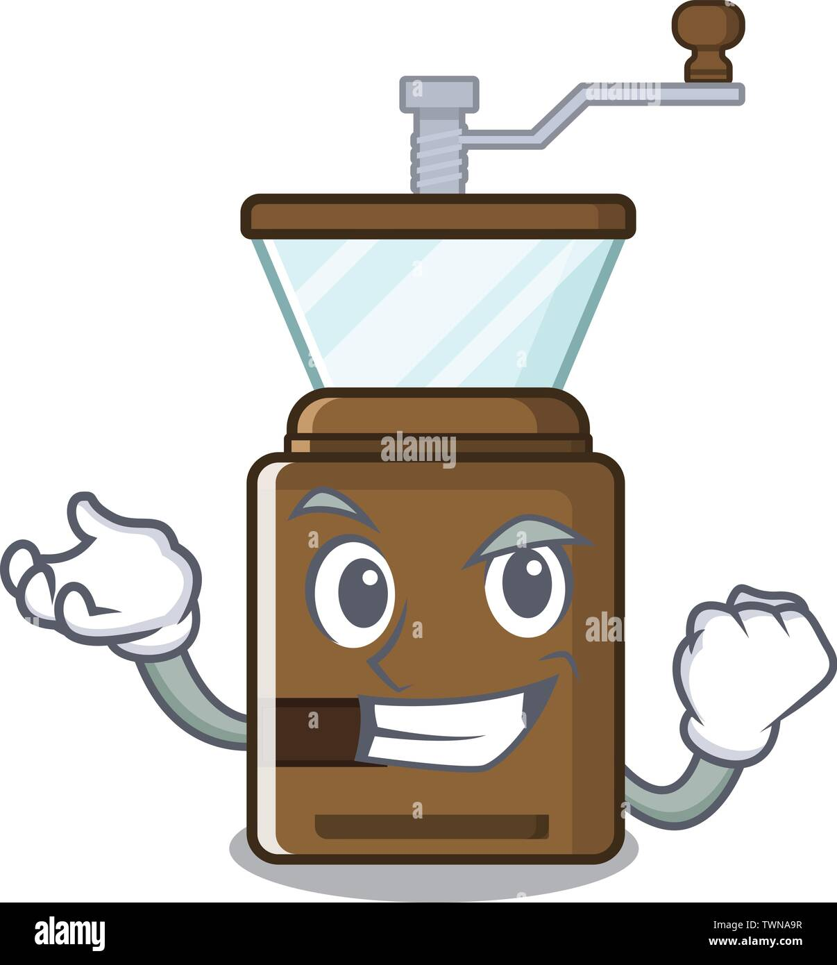 Successful cartoon coffee grinder above wooden table - Stock Image