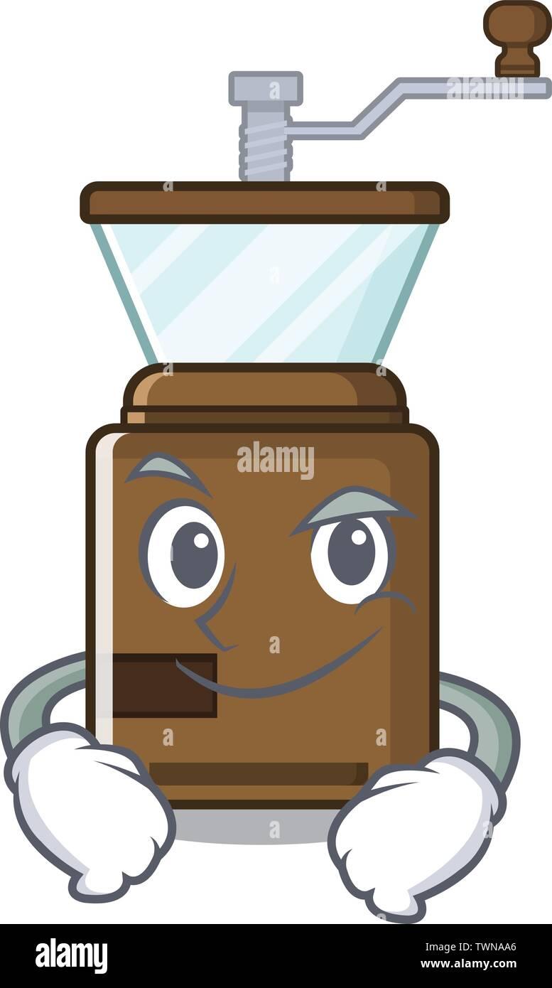 Smirking cartoon coffee grinder above wooden table - Stock Image