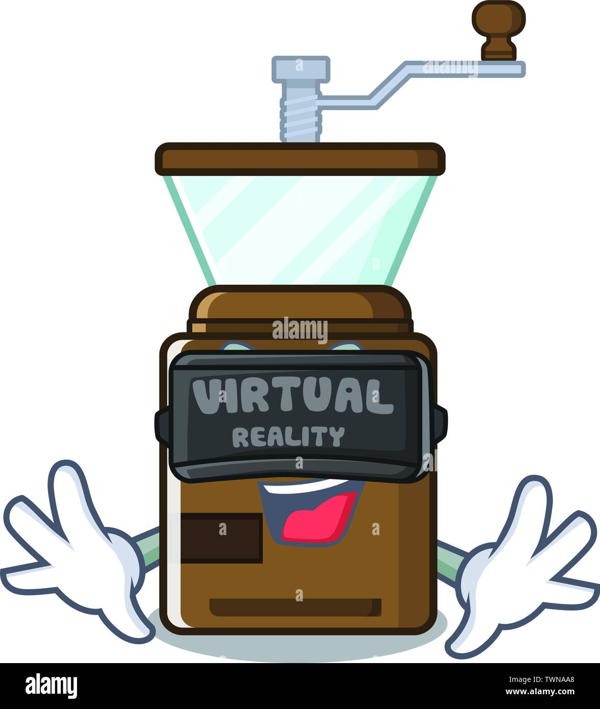 Virtual reality cartoon coffee grinder above wooden table - Stock Image