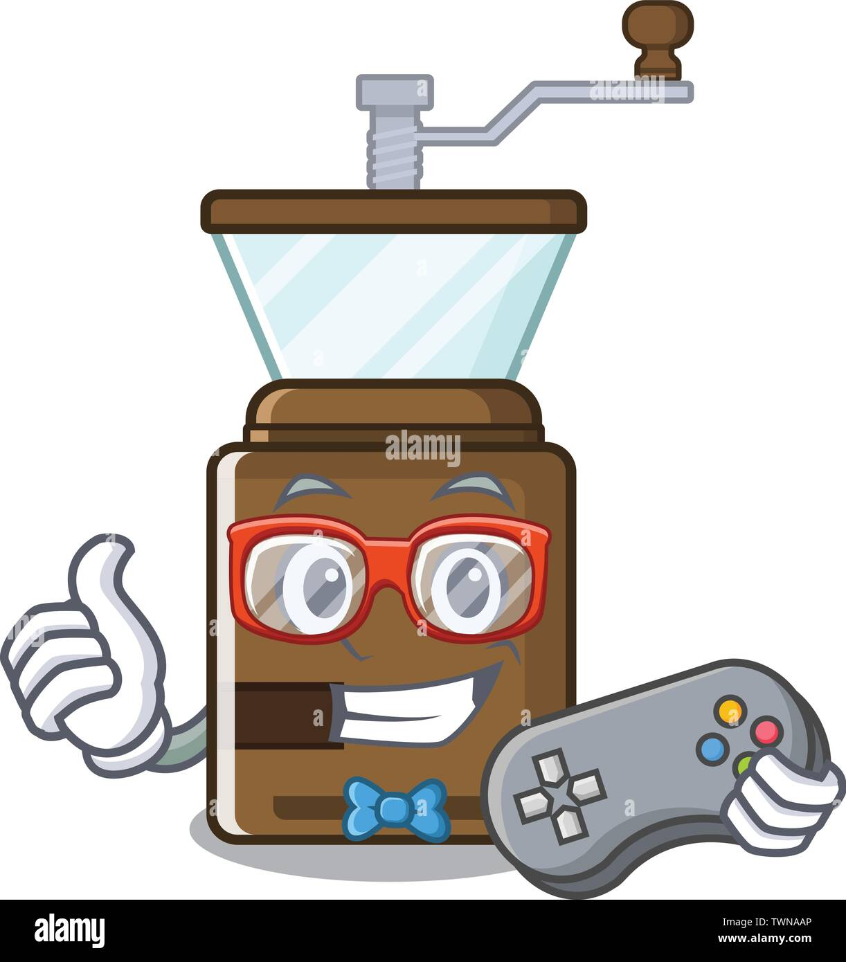 Gamer cartoon coffee grinder above wooden table - Stock Image