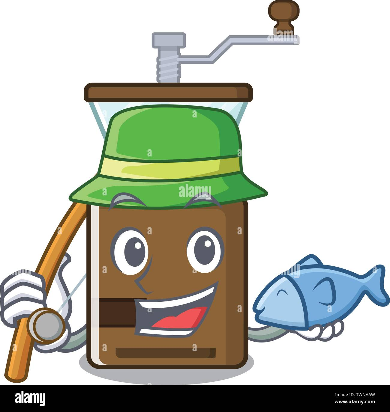 Fishing cartoon coffee grinder above wooden table - Stock Vector