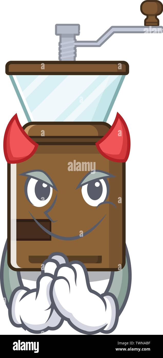 Devil cartoon coffee grinder above wooden table - Stock Image