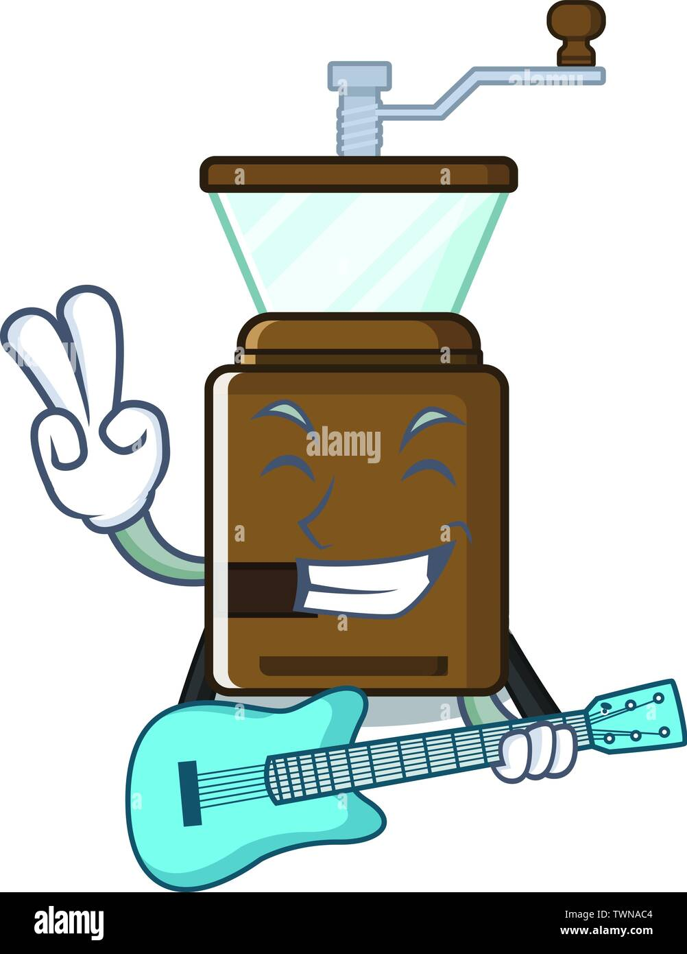 With guitar cartoon coffee grinder above wooden table - Stock Image