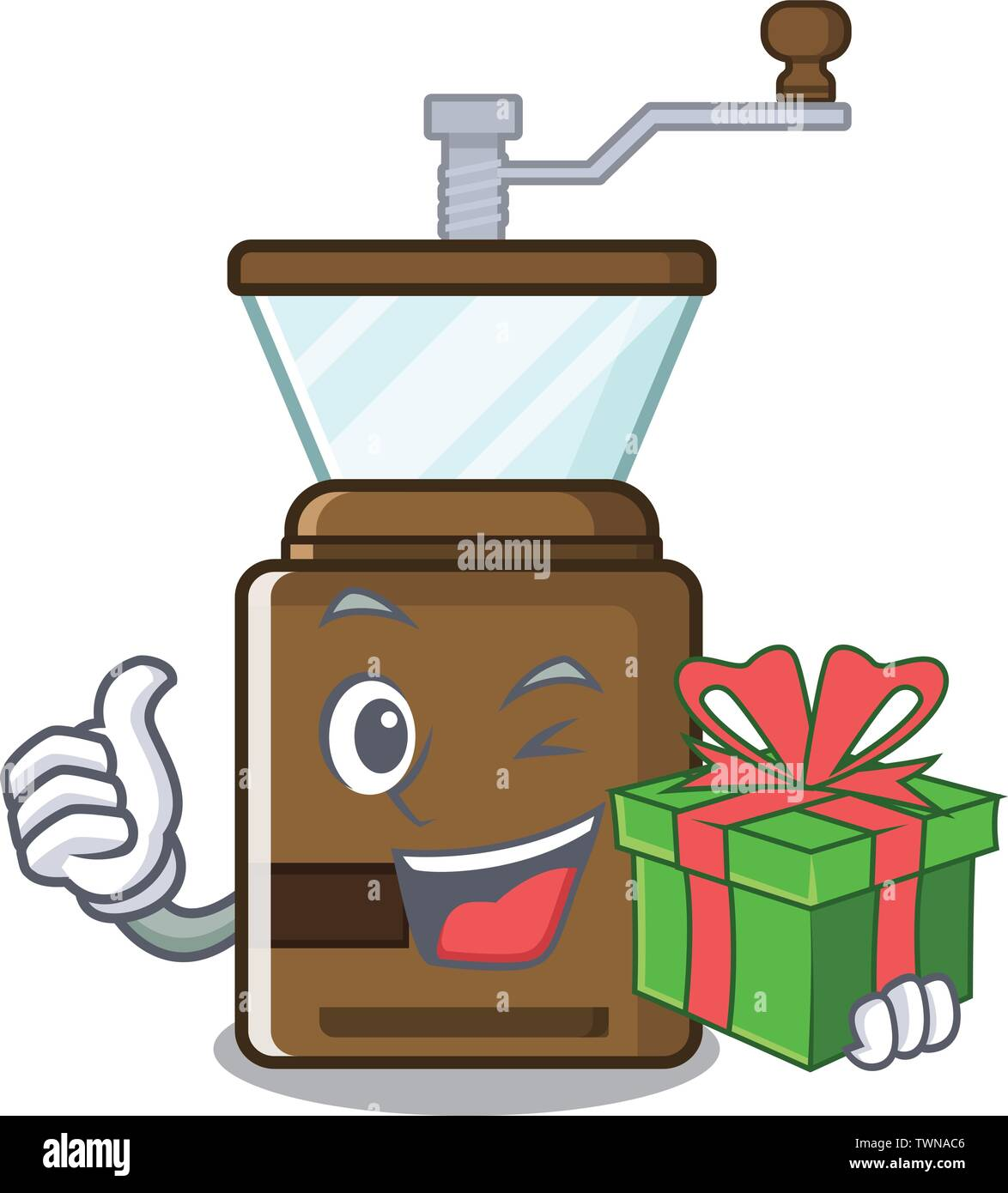 With gift cartoon coffee grinder above wooden table - Stock Image