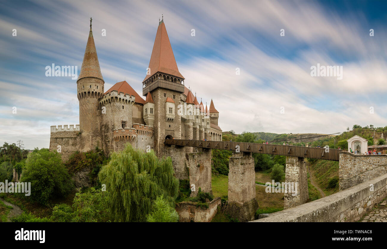 Taken in this hypostasis, the castle appears to be narrowing, making it smaller, so that as much of it as possible is captured in this image. The plac - Stock Image