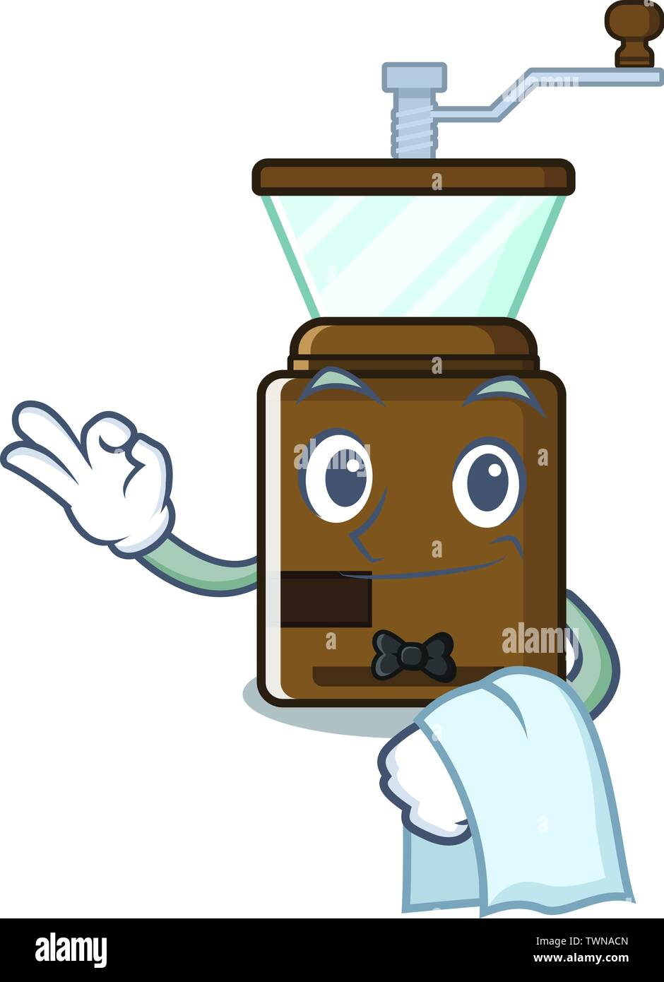 Waiter cartoon coffee grinder above wooden table - Stock Image