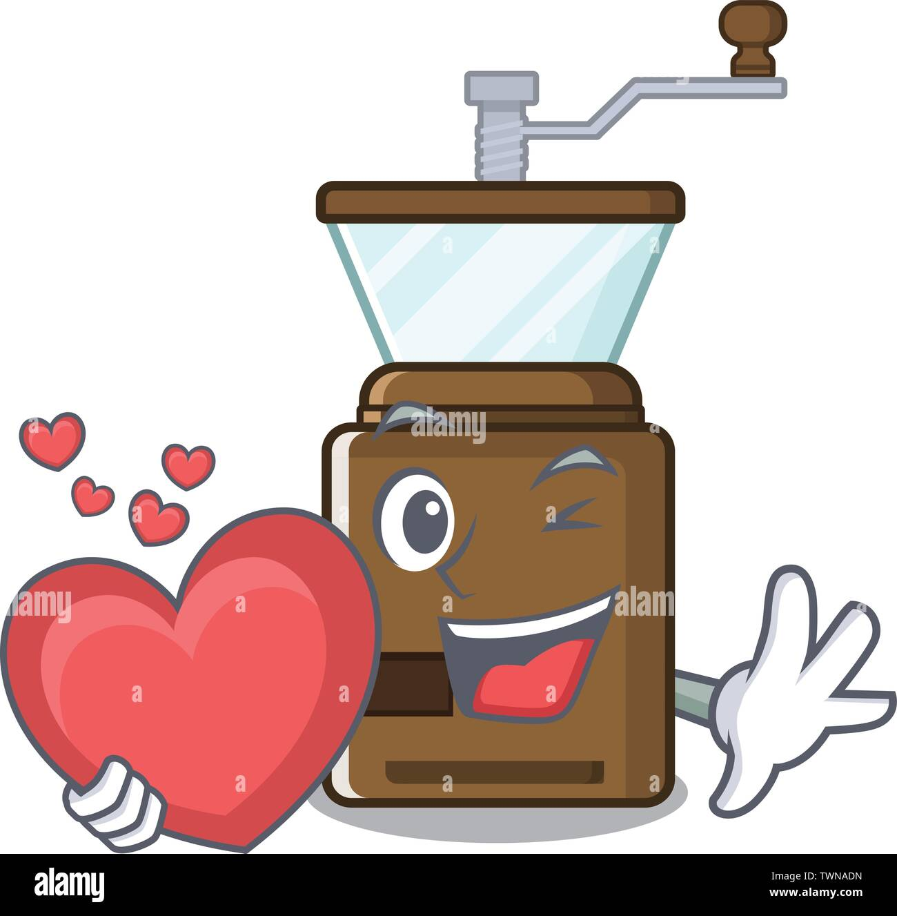 With heart cartoon coffee grinder above wooden table - Stock Image