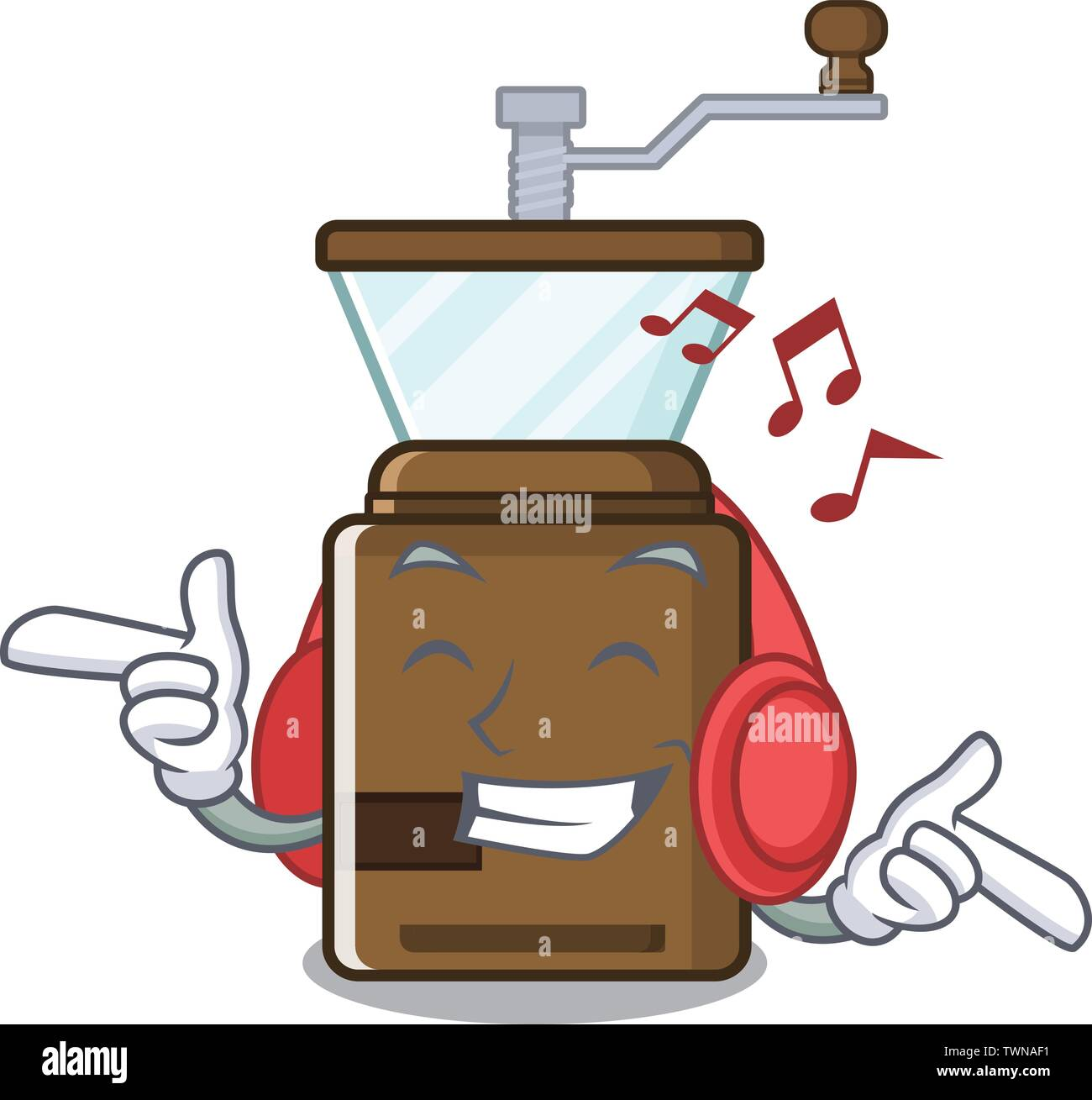 Listening music cartoon coffee grinder above wooden table - Stock Image