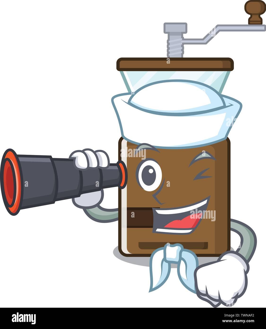 Sailor with binocular cartoon coffee grinder above wooden table - Stock Image