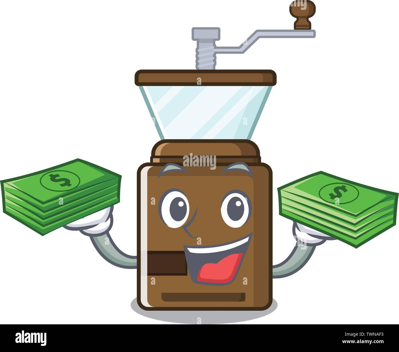 With money bag cartoon coffee grinder above wooden table - Stock Image