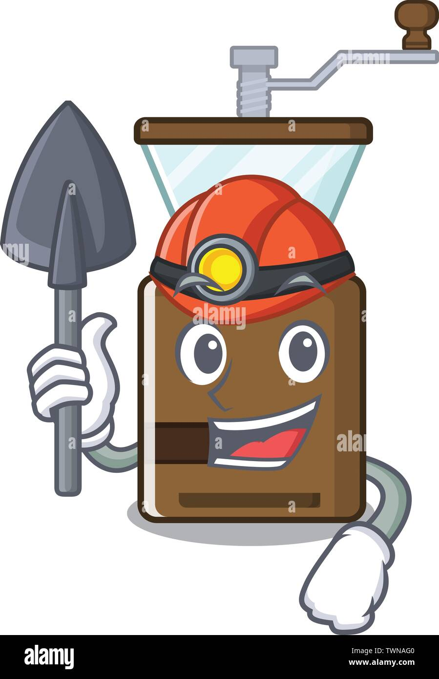 Miner cartoon coffee grinder above wooden table - Stock Image