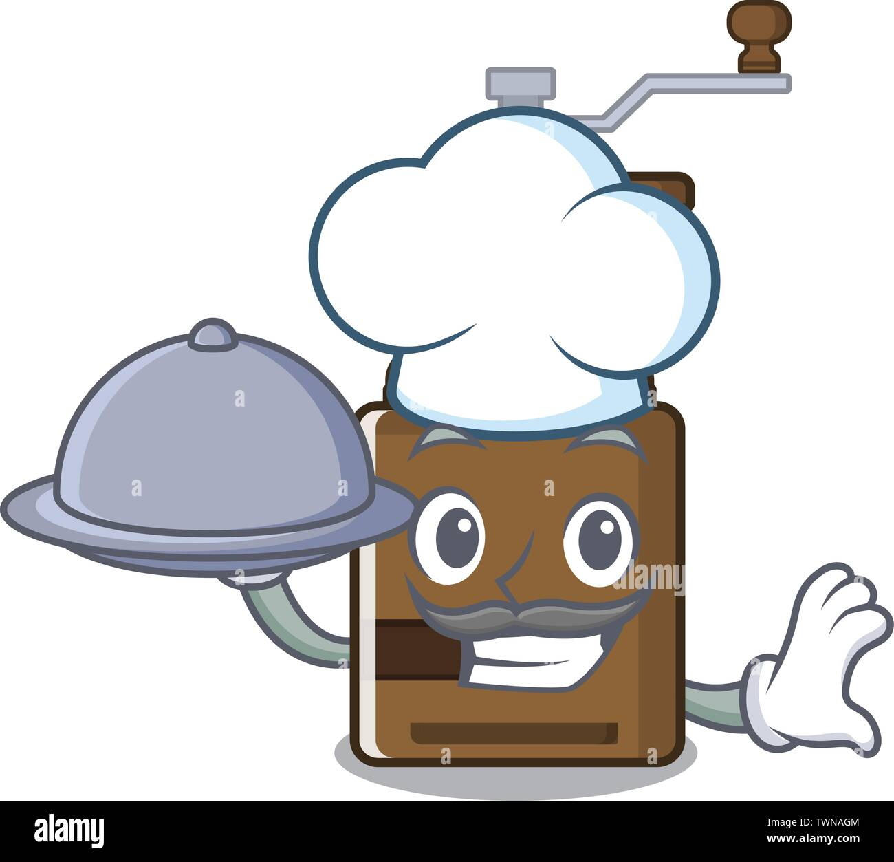 Chef with food cartoon coffee grinder above wooden table - Stock Image