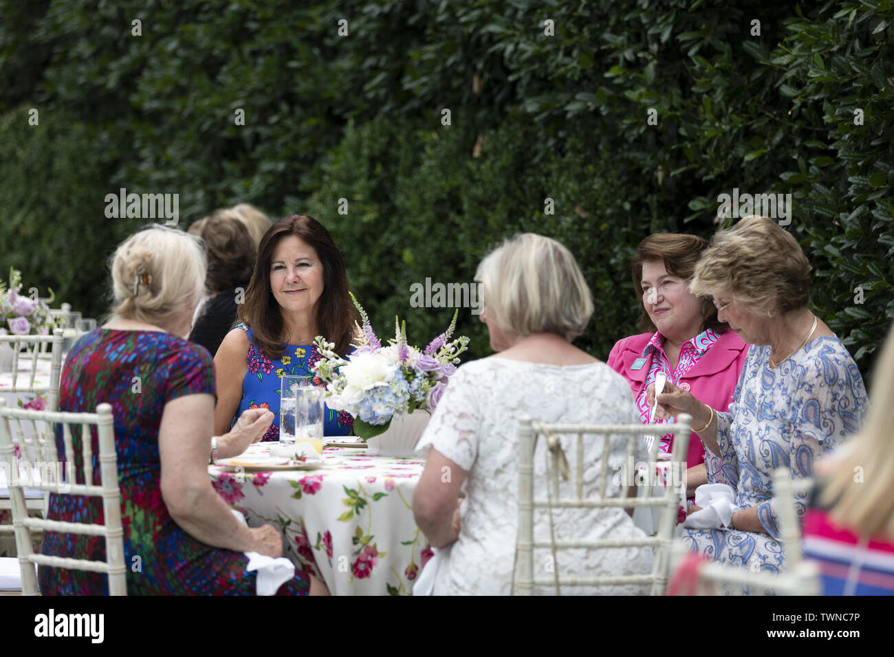 Washington, United States Of America. 20th June, 2019. Second Lady Karen Pence talks with spouses of United States Senators during a reception at the Vice PresidentÕs Residence Thursday, June 20, 2019, in Washington, DC People: Second Lady Karen Pence Credit: Storms Media Group/Alamy Live News Stock Photo