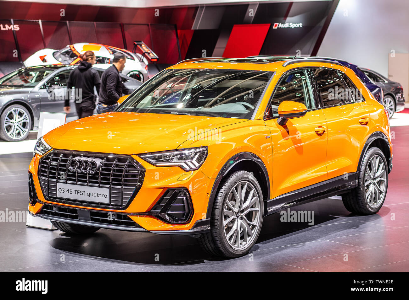 Paris, France, Oct 2018: metallic orange new Audi Q3 45 TFSI quattro at Mondial Paris Motor Show, 2nd gen F3 SUV produced by Audi AG - Stock Image