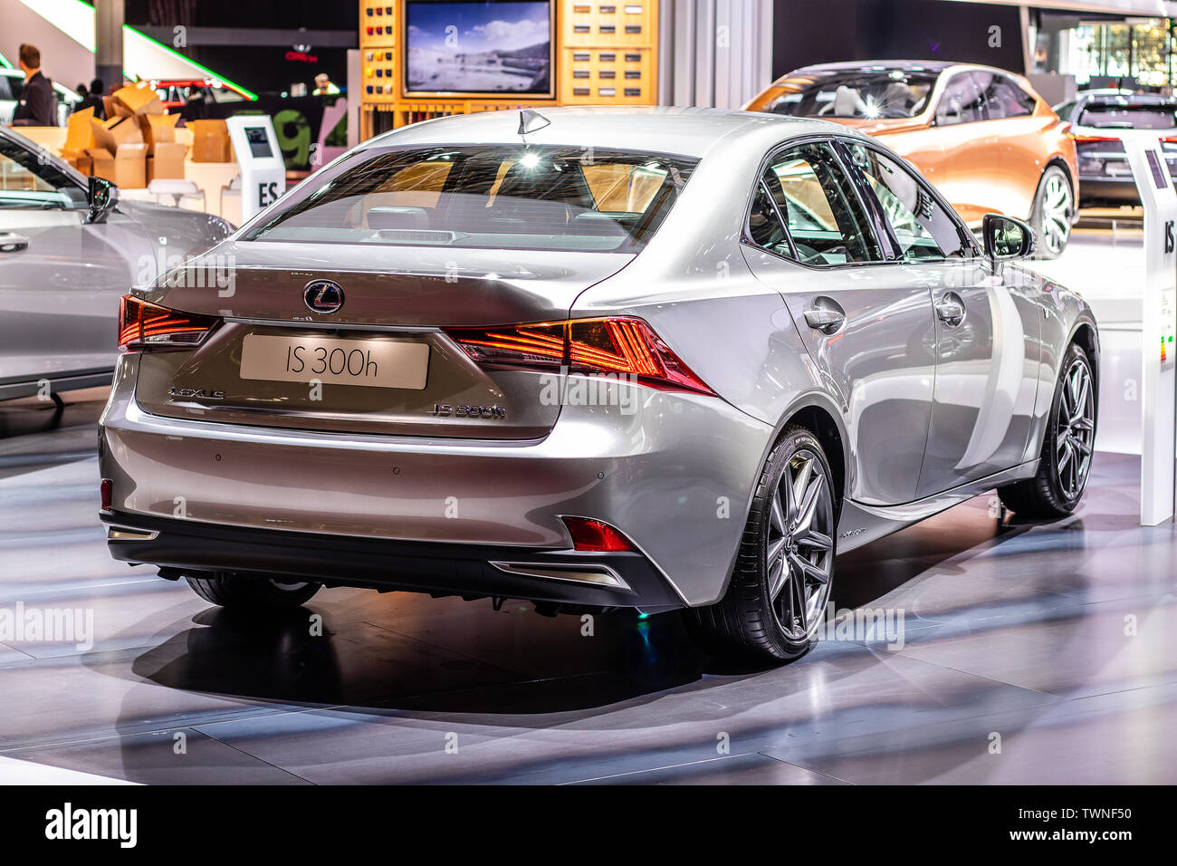 Paris, France, Oct 2018 silver LEXUS IS 300h hybrid SPORTS SALOON BOLDLY DIFFERENT at Mondial Paris Motor Show, produced by Japanese car maker Lexus Stock Photo
