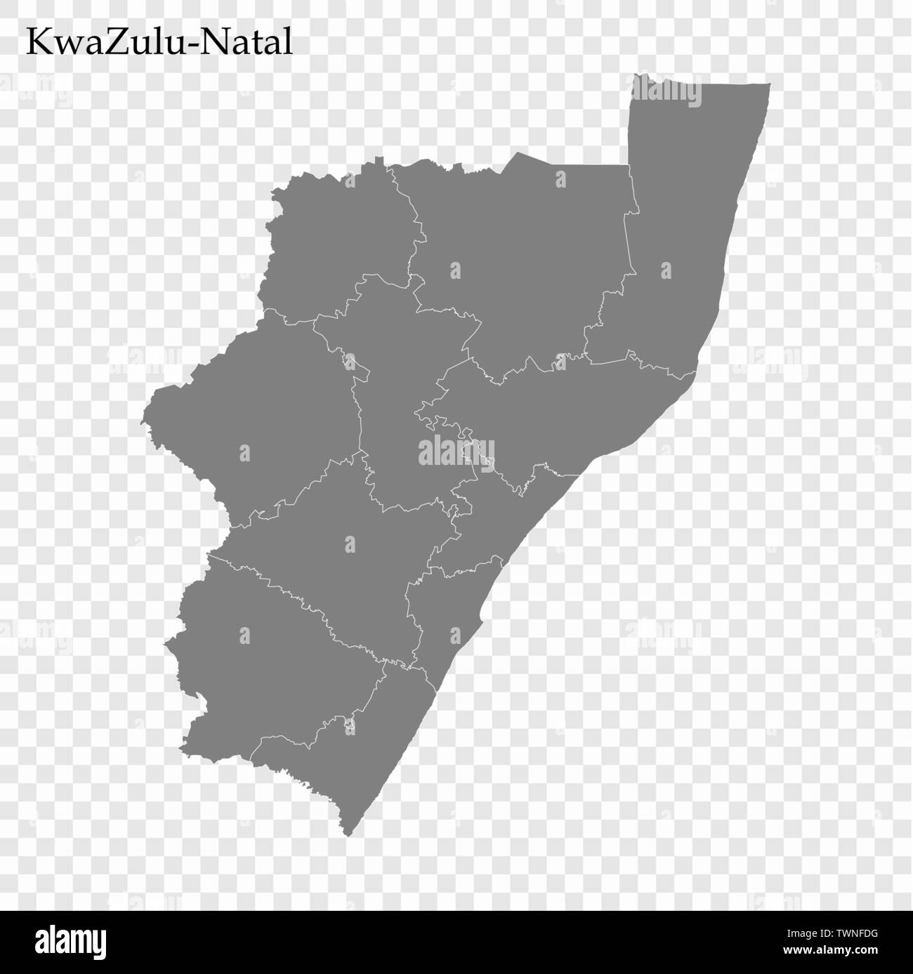 High Quality map of KwaZulu-Natal is a province of South Africa, with borders of the districts Stock Vector