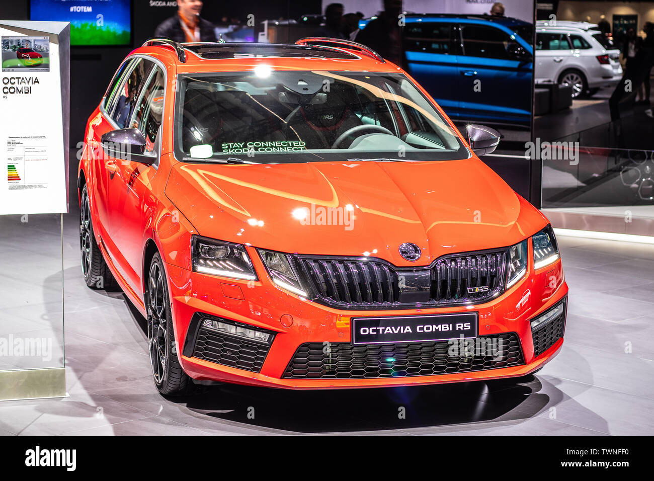 Paris France Oct 2018 Red New Skoda Octavia Combi Rs Mk3 Facelift Mondial Paris Motor Show Small Family Car Produced By Skoda Auto Stock Photo Alamy