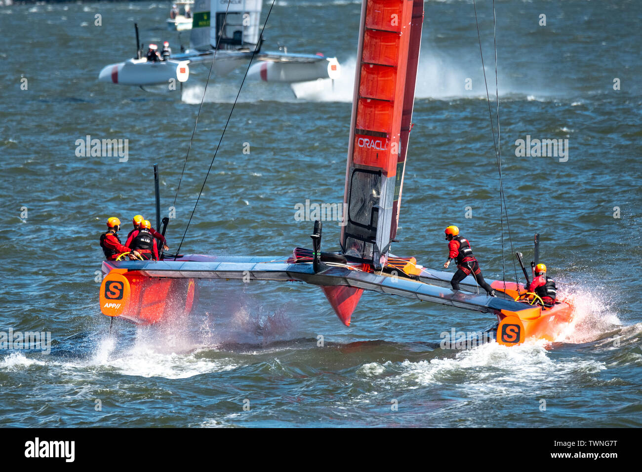 New York, USA,  21 June 2019.  China Team SailGP F50 catamaran sails in the Hudson river during the first race of day one of the SailGP event in New York City.   Credit: Enrique Shore/Alamy Live News Stock Photo