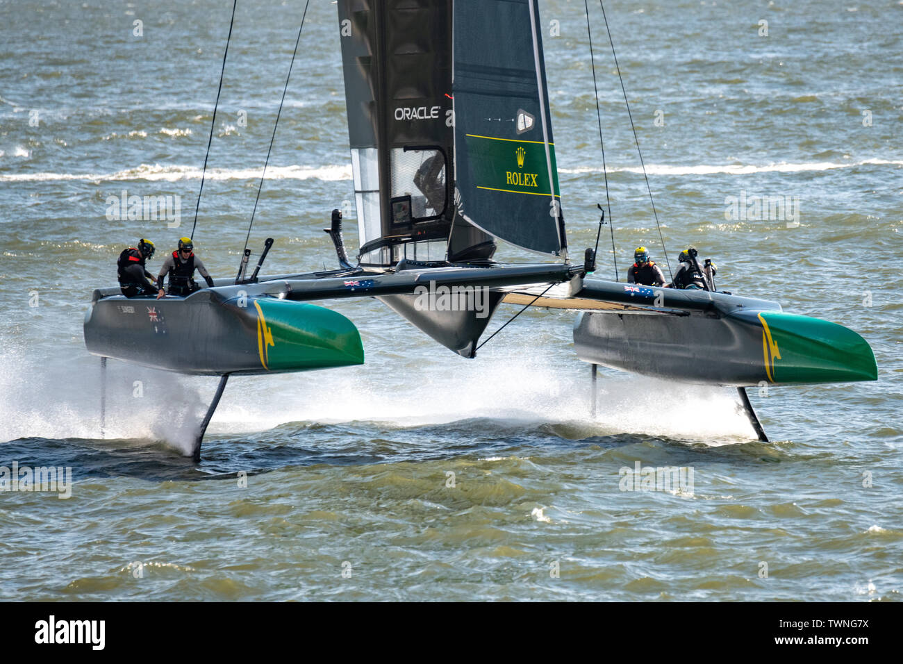 New York, USA,  21 June 2019.  Australia Team SailGP F50 catamaran sails in the Hudson river before the first race of day one of the SailGP event in New York City.   Credit: Enrique Shore/Alamy Live News Stock Photo