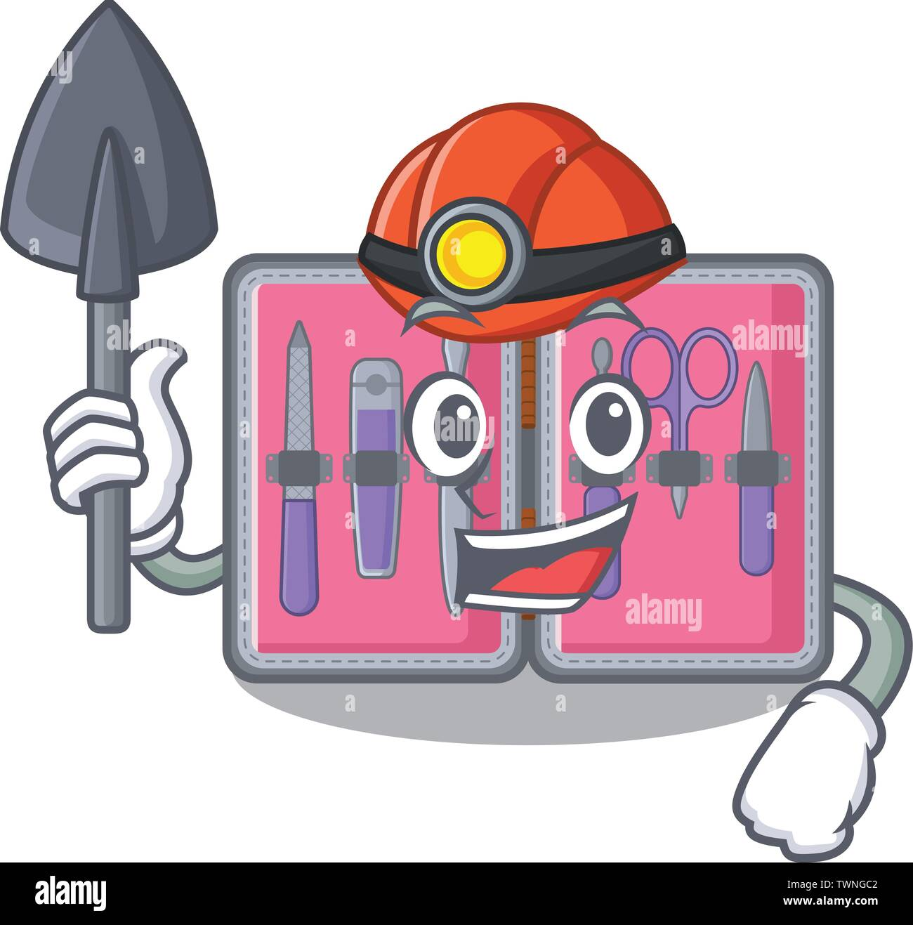 Miner manicure kit in the mascot shape - Stock Image