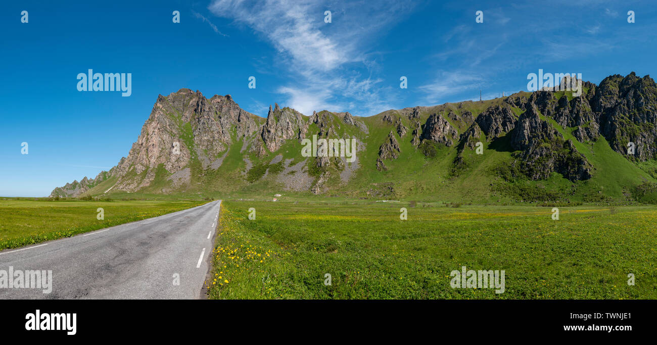 The national tourist route from Bleik to Andenes, Vesteralen, Andoya, Norway. - Stock Image