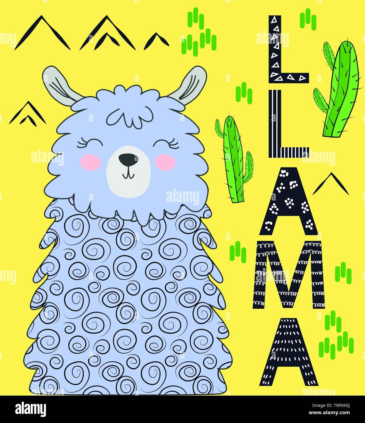 Cute cartoon llama alpaca vector graphic design set. Hand drawn llama character illustration and cactus elements - Stock Vector