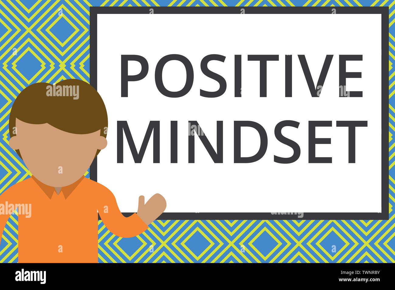 Conceptual hand writing showing Positive Mindset. Concept meaning mental attitude in wich you expect favorable results Man standing front whiteboard p Stock Photo