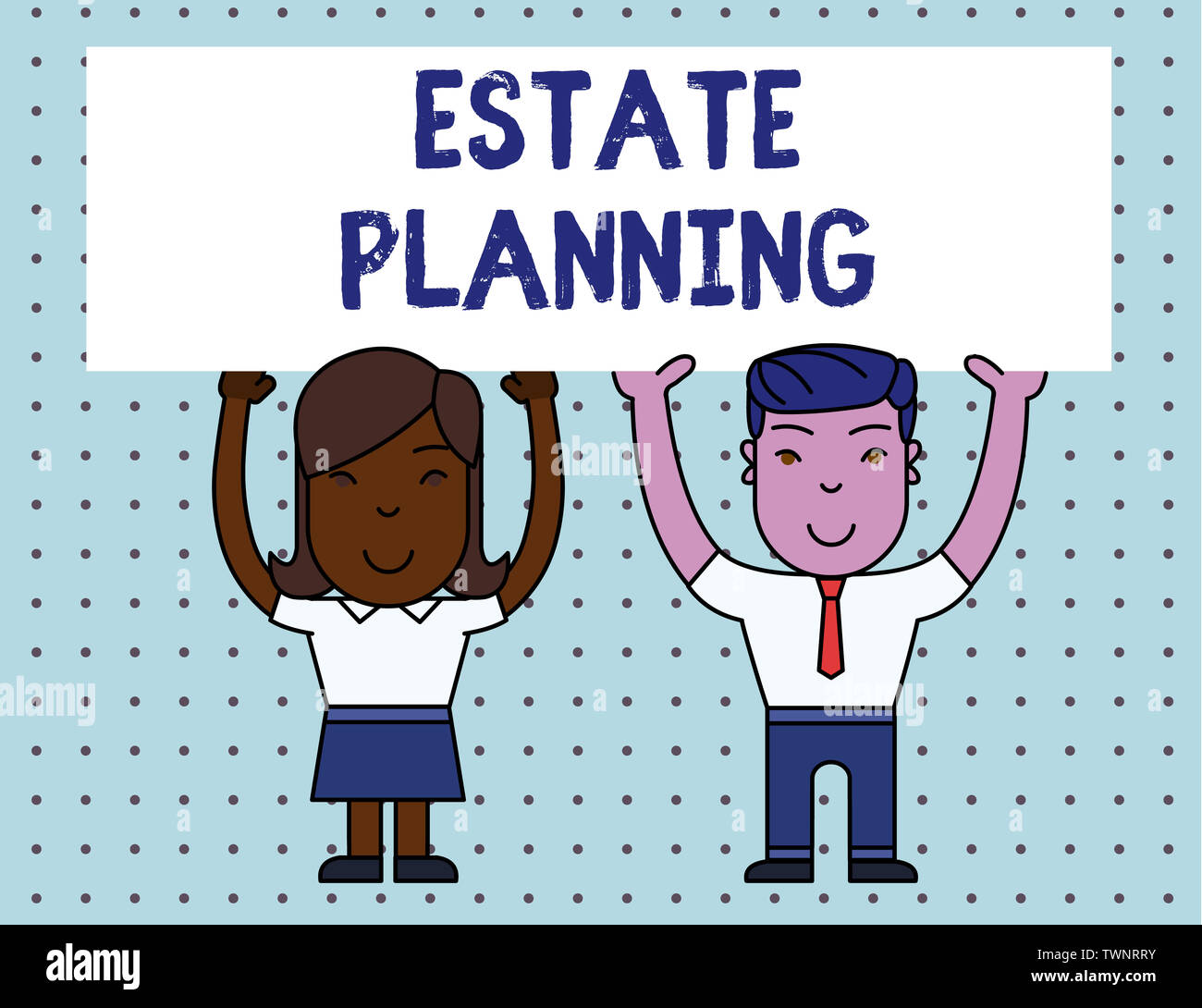 Conceptual hand writing showing Estate Planning. Concept meaning The analysisagement and disposal of that demonstrating s is estate Two Smiling People - Stock Image