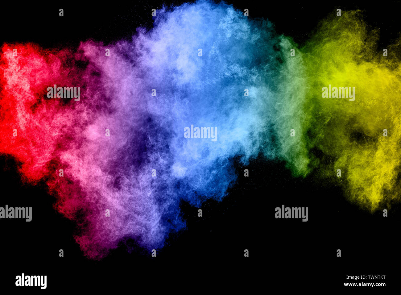 Abstract Multicolored Dust Explosion On Black Background