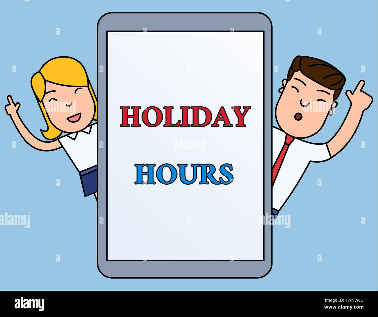 Writing note showing Holiday Hours. Business concept for employee receives twice their normal pay for all hours Male and Female Index Fingers Up Touch - Stock Image