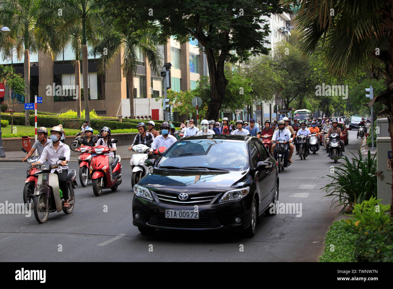 Ho Chi Minh city, Viet Nam - April 21, 2014: Overview of urban trafic at Asia city, group Asian citizen on private vehicle in trafic jam, crowded, ove - Stock Image