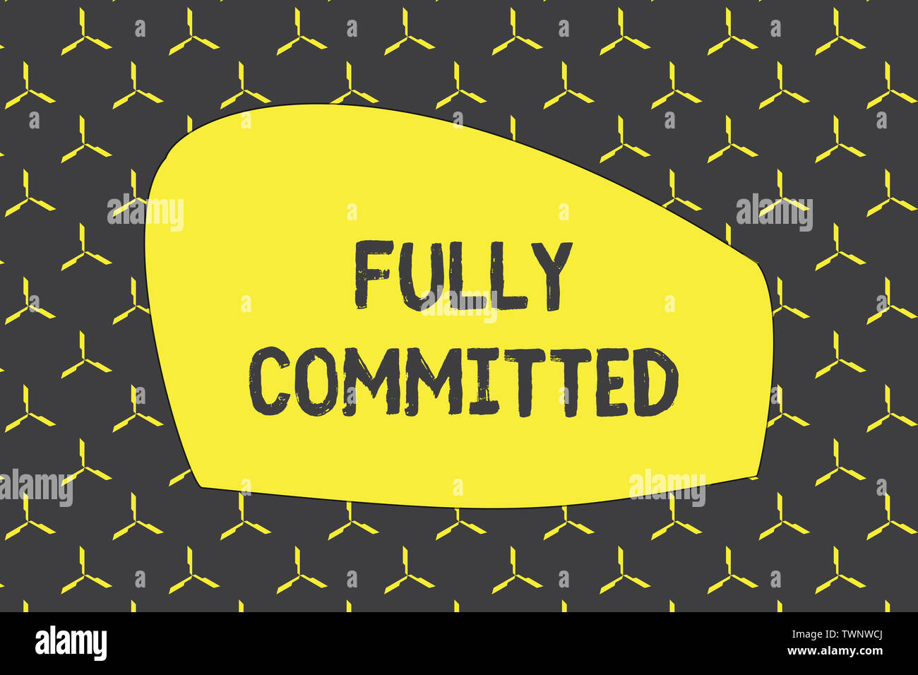 Writing note showing Fully Committed. Business concept for Extremely agreed to do something in life definitely photo seamless pattern minimal monochro - Stock Image