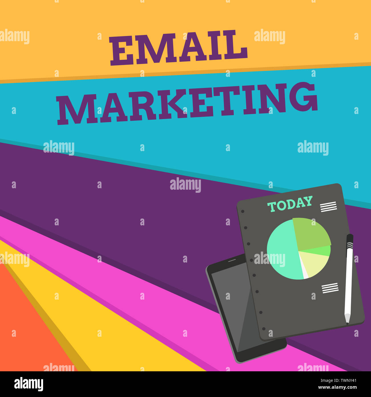 Handwriting text Email Marketing. Conceptual photo Sending a commercial message to a group of showing using mail Layout Smartphone Off Ballpoint Pen R - Stock Image
