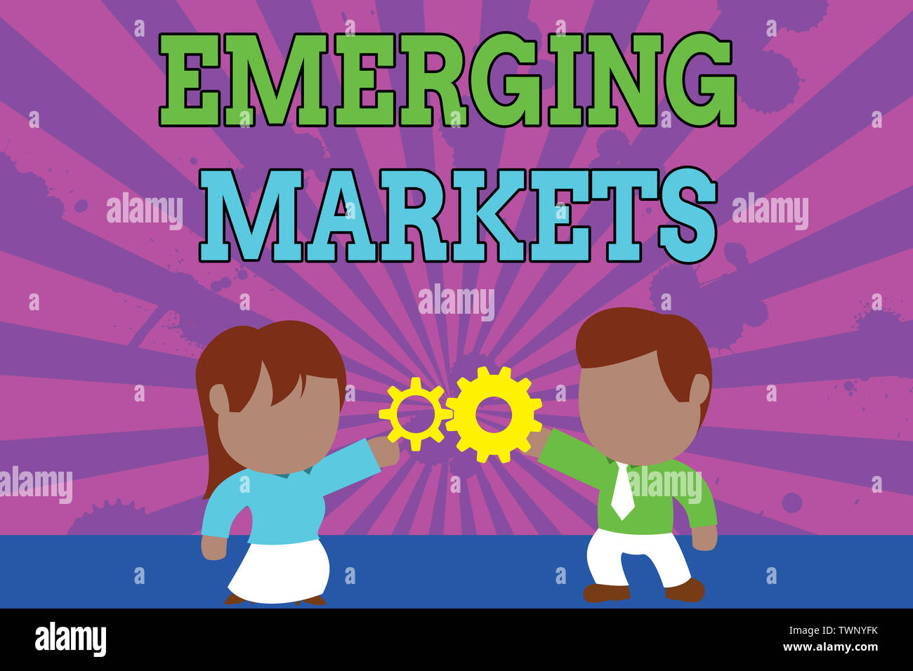 Conceptual hand writing showing Emerging Markets. Concept meaning country that has some characteristics of developed stores Young couple sharing gear Stock Photo