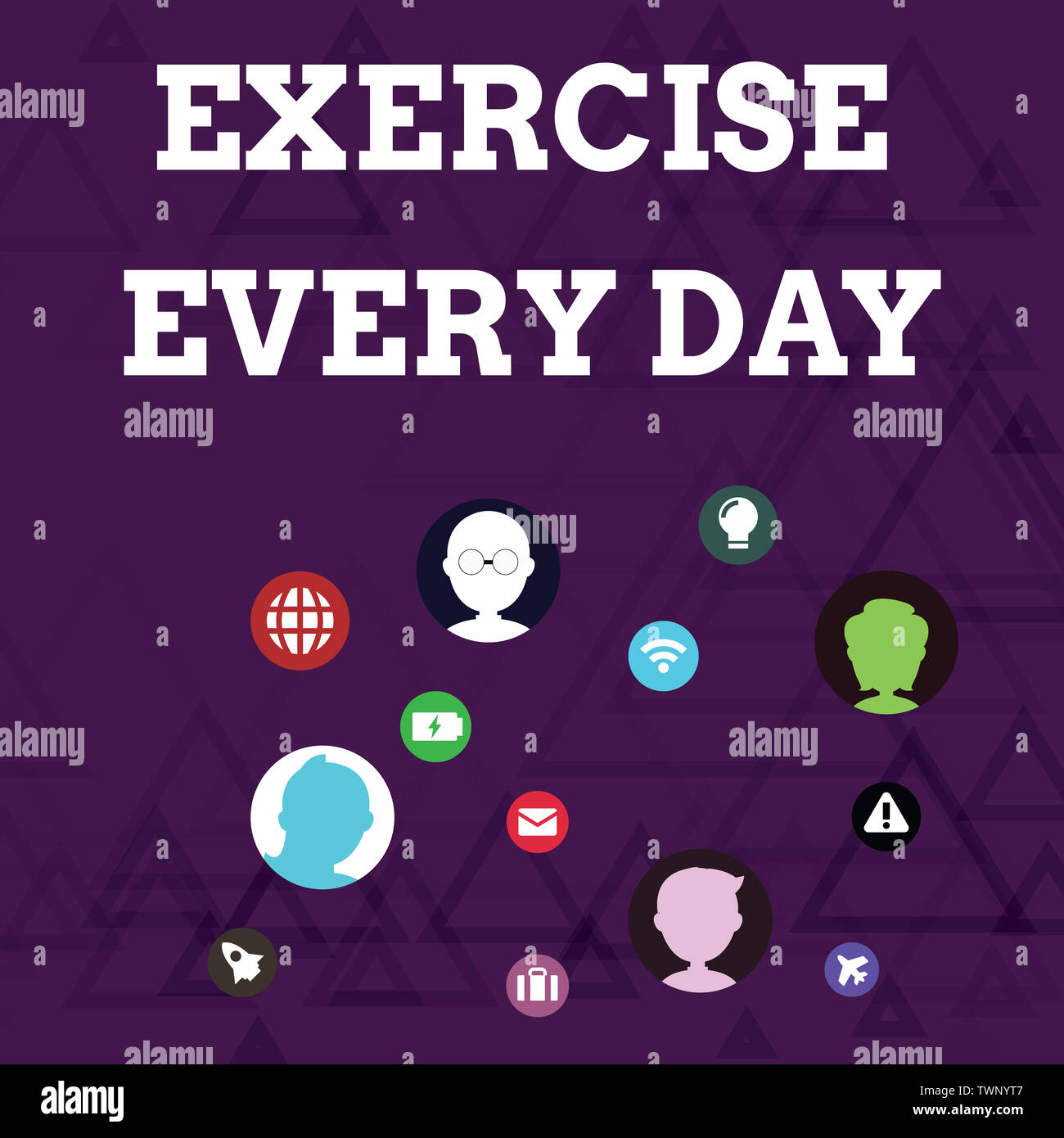 Writing note showing Exercise Every Day. Business concept for move body energetically in order to get fit and healthy Networking Technical Icons Chat - Stock Image