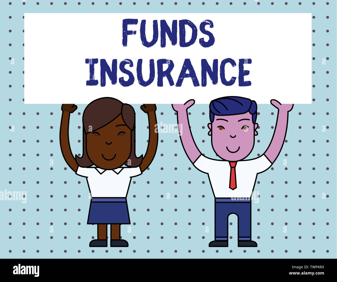 Conceptual hand writing showing Funds Insurance. Concept meaning Form of collective investment offered an assurance policies Two Smiling People Holdin - Stock Image