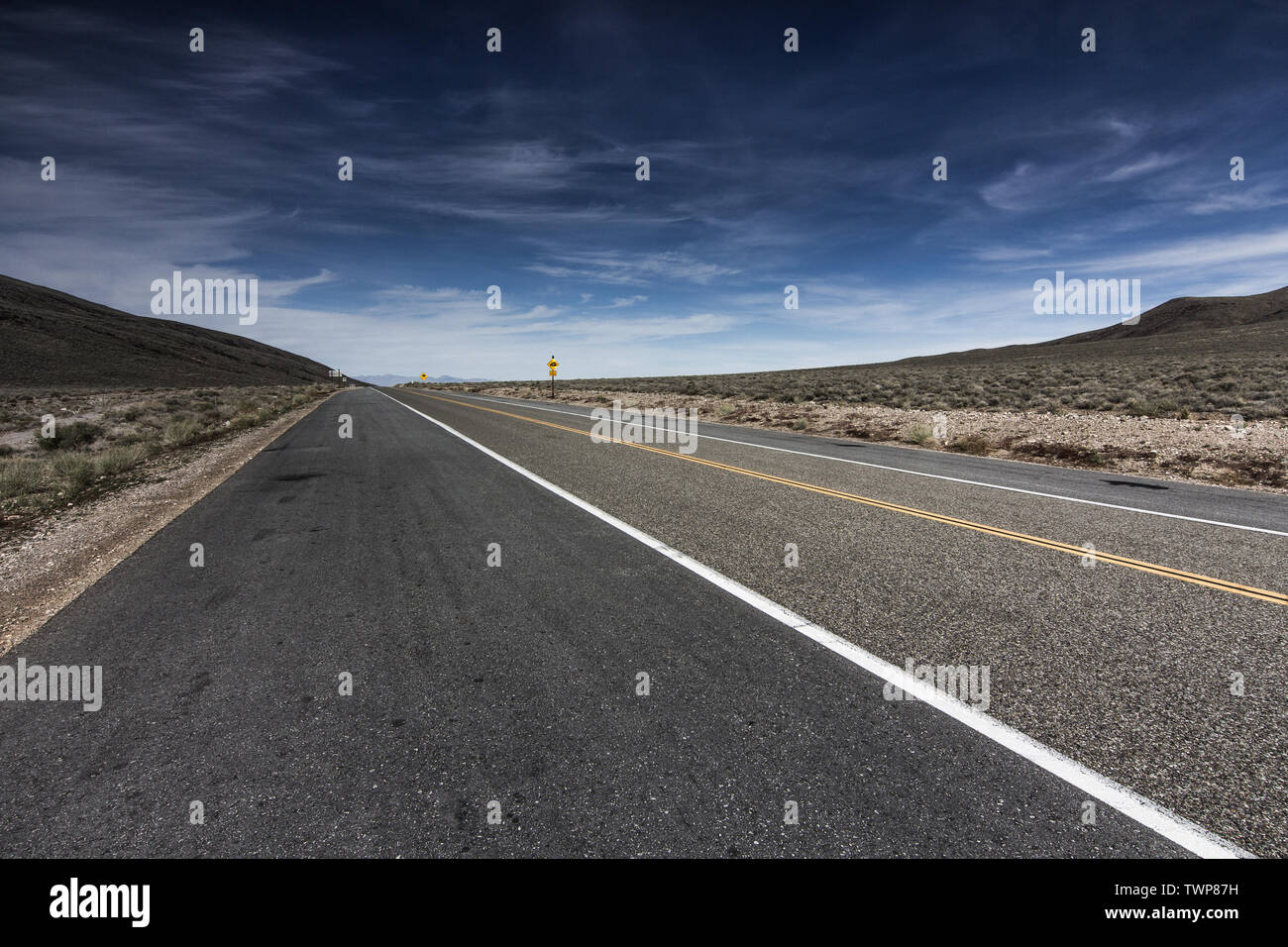 Highway through Death Valley at Towne Pass. Stock Photo